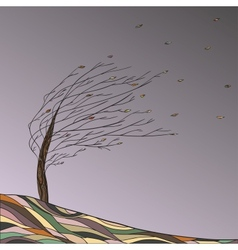 Autumn landscape with tree and falling leaves vector