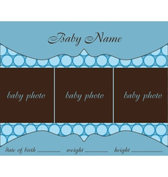 baby boy arrival card with frame vector image vector image