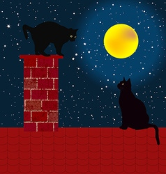 Black cats on the roof vector