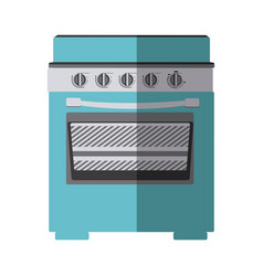 Blue color silhouette of stove with oven vector