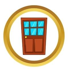 Brown wooden door with glass icon vector