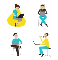 Business people working on laptops set vector