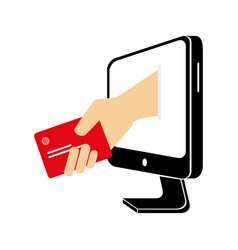 Computer with credit card money icon vector