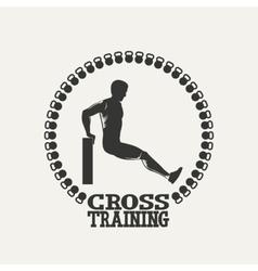 Cross Training man silhouet 2 logo vector image