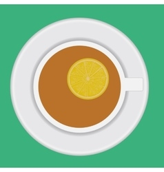cup of tea with lemon vector image vector image