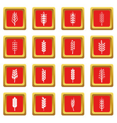 ear corn icons set red vector image