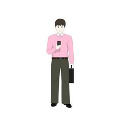 European businessman with a phone vector