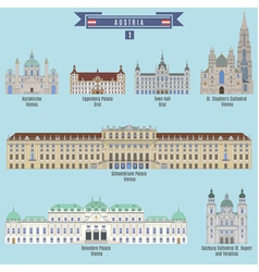 Famous Places in Austria vector image vector image