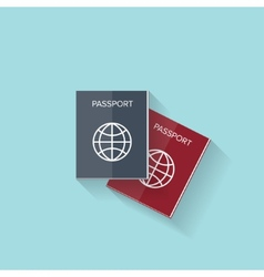 Flat passport web icon vector image