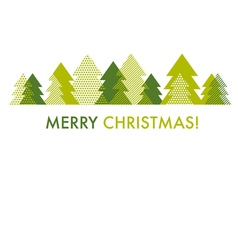 green Christmas tree card template of abstract vector image vector image