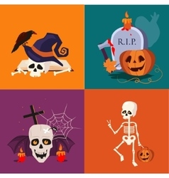 Halloween Skull and Pumpkin vector image
