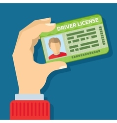 Hand holding id card car driving licence vector