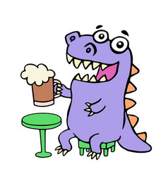 happy purple dragon sitting with a mug of beer vector image