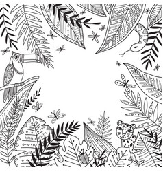 Jungle frame with exotic plants in boho tribal vector