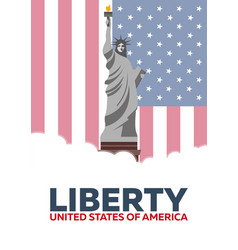 liberty statue of liberty usa flag vector image