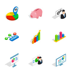 market elements icons isometric 3d style vector image