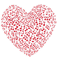 music background notes heart vector image vector image