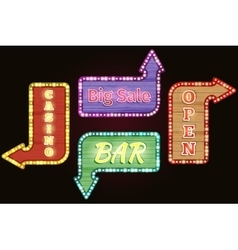 Open big sale casino bar retro neon signs vector image vector image