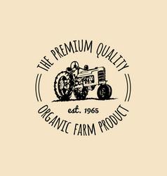 retro family farm logotype organic premium vector image vector image