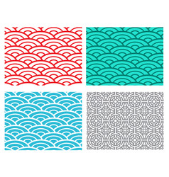 seamless wave sea pattern in chinese style vector image vector image
