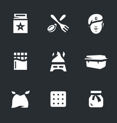 Set of amy food ration icons vector