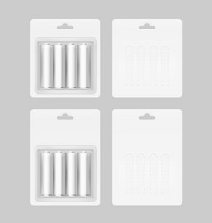 set of four white batteries in blister packed vector image