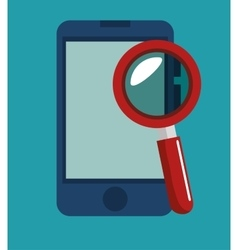 Smartphone search data security icon vector