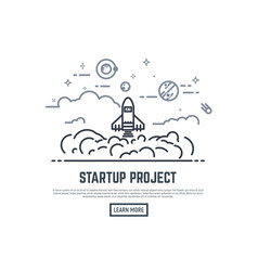 startup rocket project vector image vector image