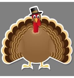 Thanksgiving turkey bird isolated on grey vector