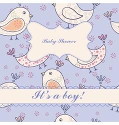 Vintage birdsbaby shower boy vector image vector image