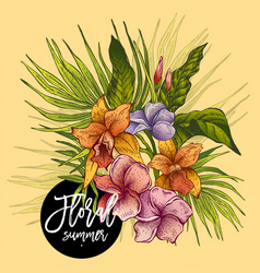 vintage floral tropical greeting card vector image