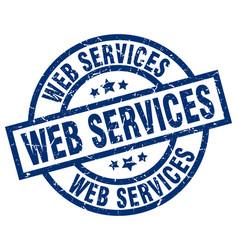 Web services blue round grunge stamp vector