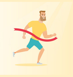 young caucasian sportsman crossing finish line vector image