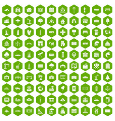 100 landscape element icons hexagon green vector