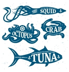 Seafood quote set vector