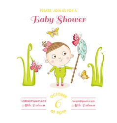 Baby Girl with Butterflies - Baby Shower Card vector image