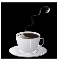 A cup of coffee with smoke and saucer on black vector image
