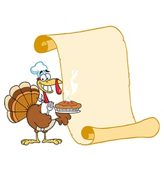 Turkey chef with pie and scroll vector