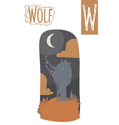Vertical of wolf with colorful night background vector