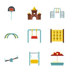 Kindergarten playground icons set flat style vector