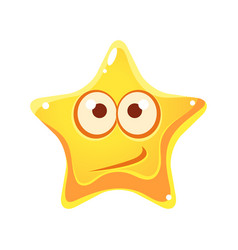 Confused emotional face of yellow star cartoon vector