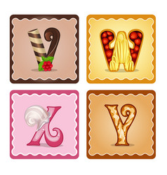 letters vwxy candies vector image