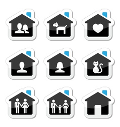 Home family icons set vector image
