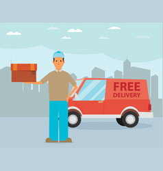 Man postal delivery courier man in front of cargo vector