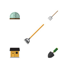 Flat icon dacha set of tool trowel hothouse and vector
