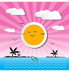 Sunset ocean background with sun palm island vector