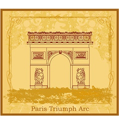 Hand drawn of paris triumph arc - grunge ba vector