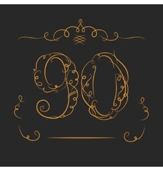 Anniversary 90th signs vector
