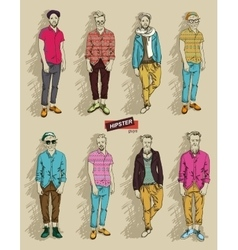 Hipster man in fashion set vector