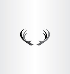 Deer horns icon black logo vector